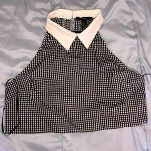 Collared Gingham Crop Top
